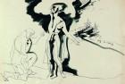 Одиссея, эскиз, Одиссей и Навзикая. 1959,  бумага, тушь, 31×43, собственность семьи