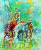 Eduard Isabekyan 1914-2007. Horses on the river bank. 1997, paper, pastel, 56×41, family property