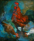 Cock. 1970, oil on canvas, 70×60, family property