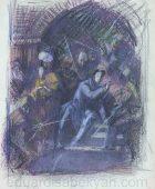 Էդուարդ Իսաբեկյան 1914-2007. Գրիբոյեդովի գանակոծումը. թուղթ, խառը տեխնիկա, 48×36